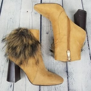 CAPE ROBBIN | Bernice faux fur chunky heel boots